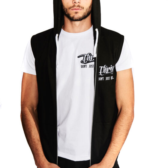 Thrive Black Sleeveless Hoodie